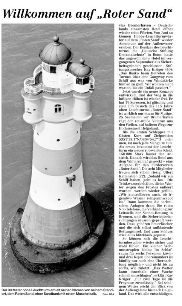 Bremerhaven Roter Sand Zeitungsbericht