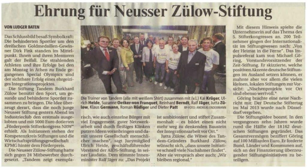 Ehrung Neusser Zülow Stiftung Zeitungsbeitrag